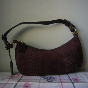 Ralph Lauren Chocolate Brown Suede Purse - braided